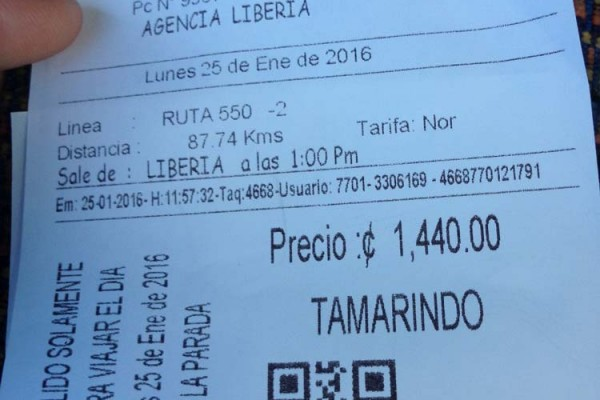 Bus ticket to Tamarindo