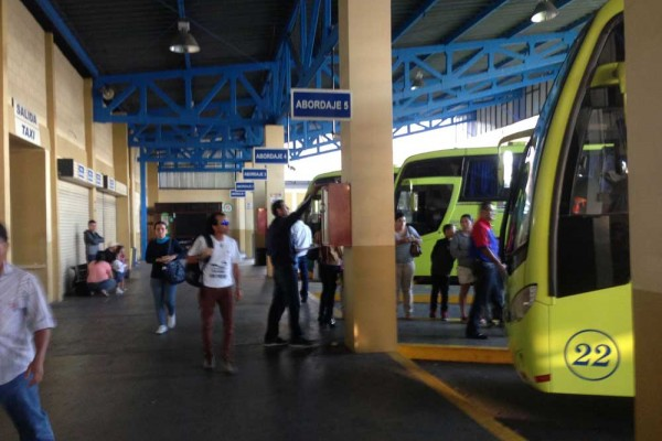 Inside the Tracopa bus terminal in San Jose, Costa Rica