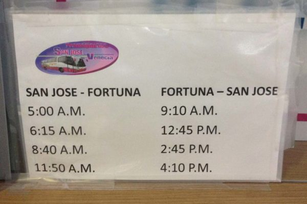 San Jose to La Fortuna bus schedule