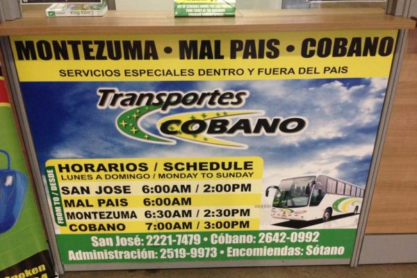 Transportes Cobano bus Schedule to Santa Teresa and Montezuma