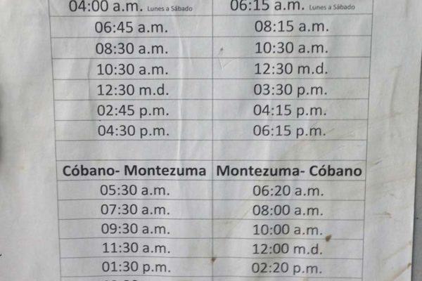 Transportes Cóbano Schedule