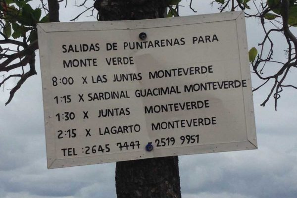 Puntarenas to Monteverde Schedule
