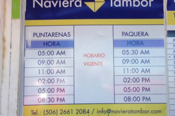 Puntarenas - Paquera ferry schedule