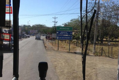 Sign post for Huacas - junction for heading to either Tamarindo and Grande