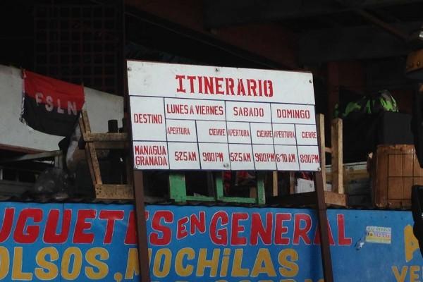 Bus Schedule Mercado Roberto Huembes, Nicaragua