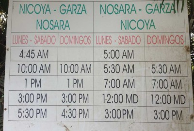 Bus schedule for Nosara, Costa Rica