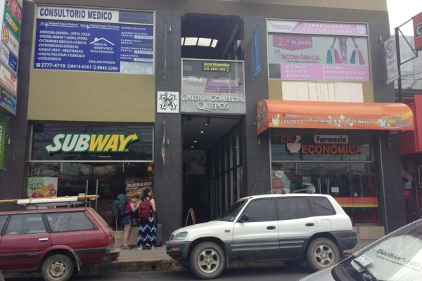 Subway and Pharmacy in front of the Quepos bus station
