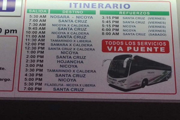 Alfaro schedule Inside 710 Station San Jose, Costa Rica