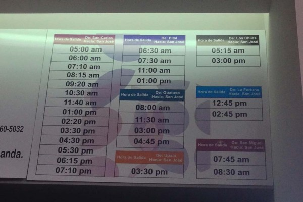 Schedule Inside 710 Station San Jose, Costa Rica