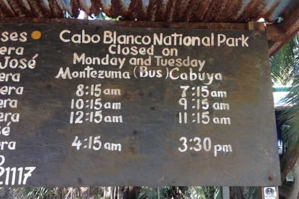 Bus schedule for busses from Montezuma to Cabo Blanco national Park