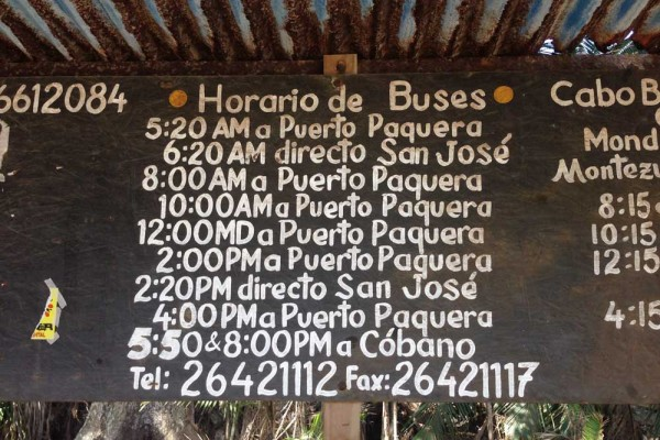 Bus schedule at the bus stop in Montezuma