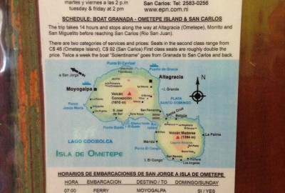 Boat from Granada to Ometepe and San Carlos schedule
