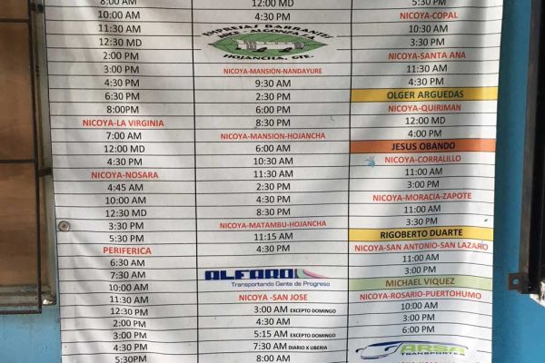Nicoya Bus Schedule 2018