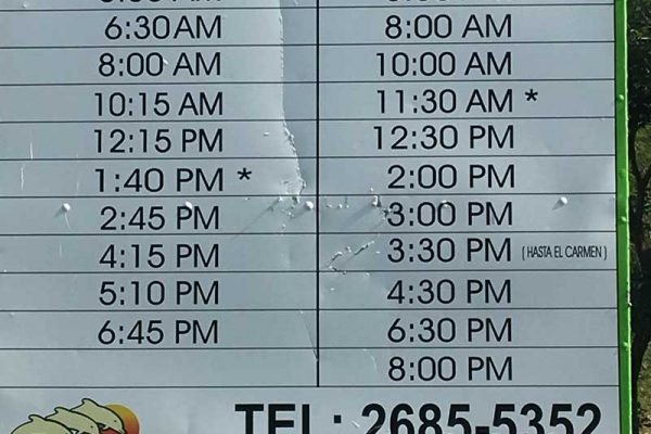 Samara Costa Rica bus timetable