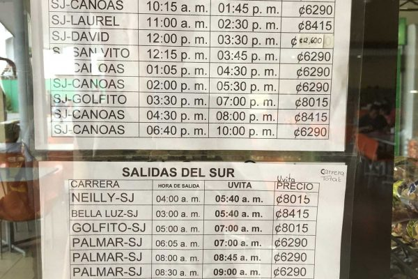 Uvita to San Jose Costa Rica Bus schedule