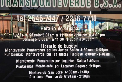Transmonteverde bus schedule at the office in Monteverde, Costa Rica. 2016