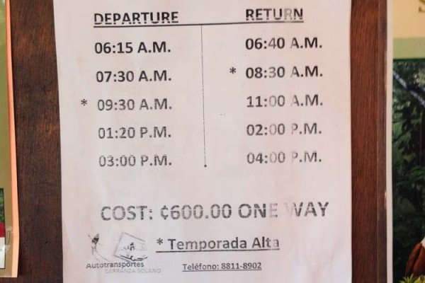 Bus schedule from Monteverde to cloudforest