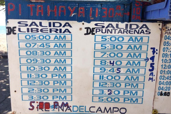 Bus schedule from Liberia to Puntarenas Costa Rica.
