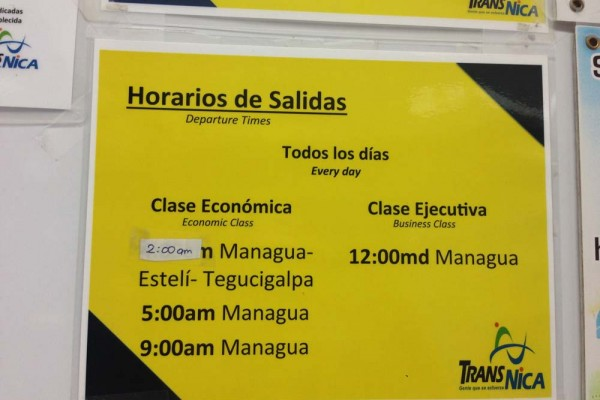 Schedule in TransNica station San Jose Costa Rica