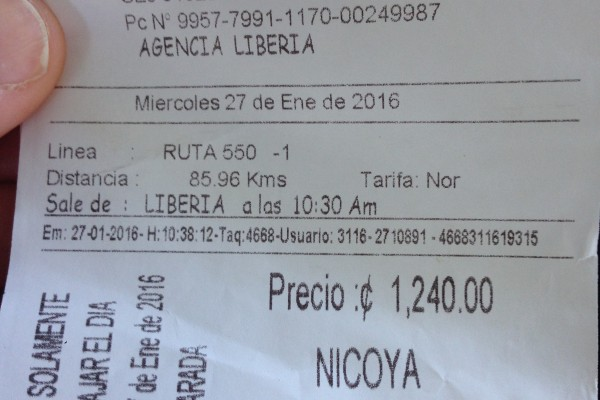 Liberia to Nicoya, Costa Rica ticket