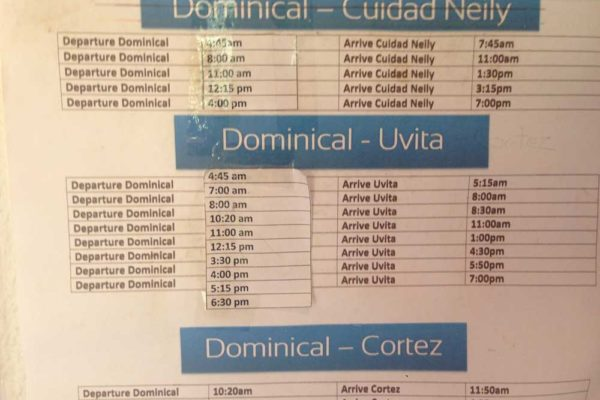 Dominical bus schedules from Information Center