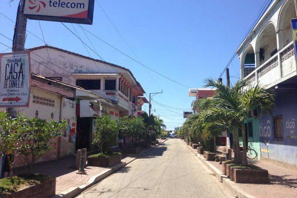 Road to the beach in El Cuco, El Salvador