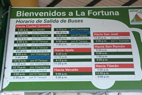 La Fortuna Costa Rica Bus Schedule