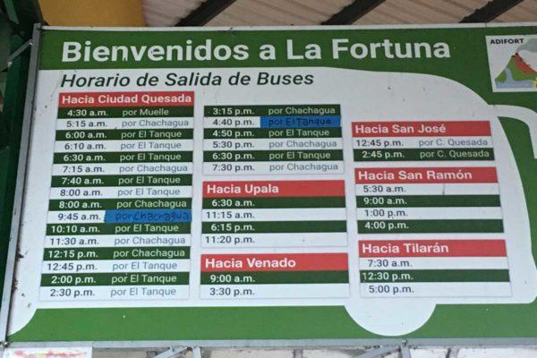 La Fortuna Costa Rica Bus Schedule