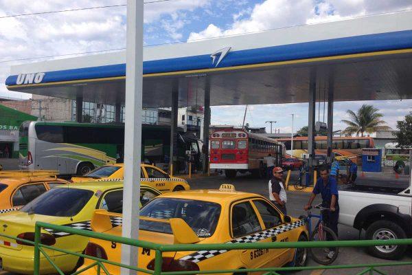 Gas station next to San Miguel Terminal, El Salvador
