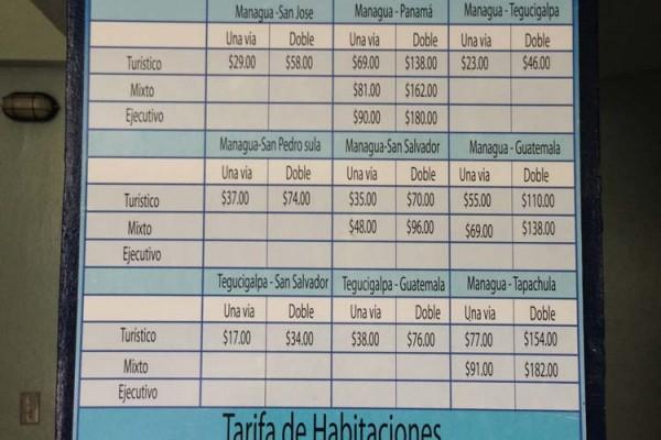 Managua - Tica Bus, TransNica, Nicabus, Central Line