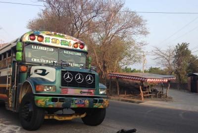 In front of Playa El Zonte: Bus 192A from La Libertad to Chiltiupan El Salvador