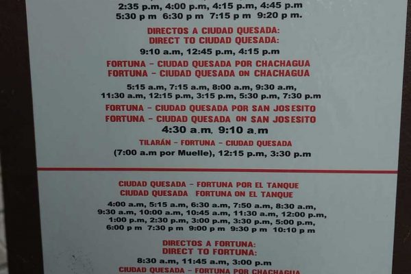 La Fortuna Costa Rica bus schedule Mar 2019