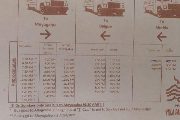 Ometepe bus schedule 2018