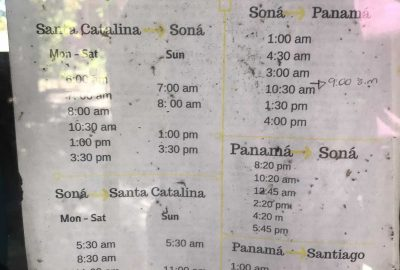 Santa Catalina, Panama, bus schedule
