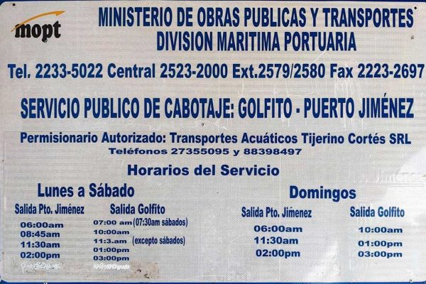 Puerto Jimenez boat schedule