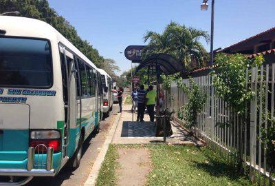 El Salvador Airport Ruta 138 microbus stop