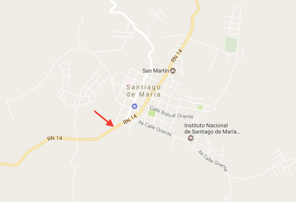 Santiago de Maria bus stop to Usulutan