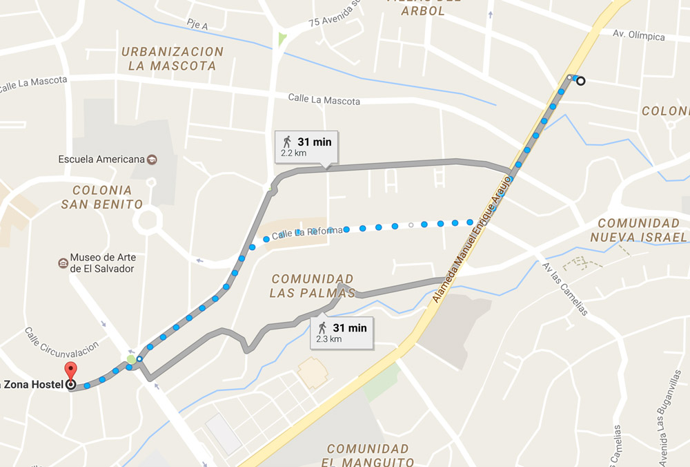 Walking route from Tica Bus San Benito to Ruta 8A bus San Salvador