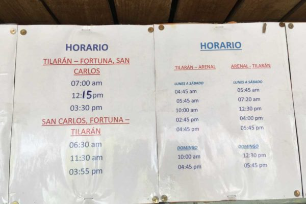 Tilaran Costa Rica bus schedules and station