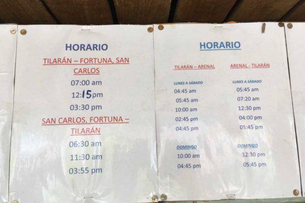 Tilaran Costa Rica bus schedules and station