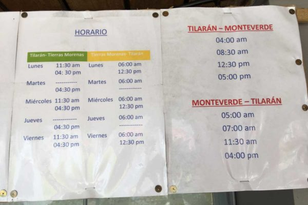 bus schedule Tilaran to Monteverede Costa Rica