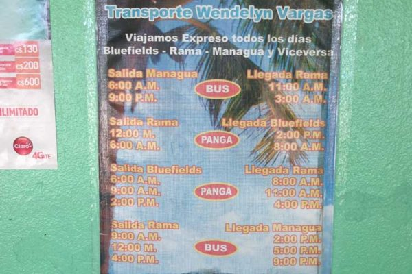 Schedule for buses from Managua to Bluefields with Terminal Costa Atlantica