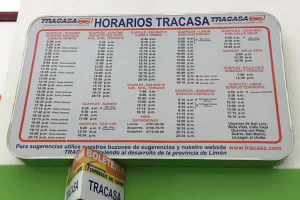 Bus Terminal and Schedules Guapiles Costa Rica